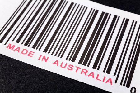 Made in Australia and barcode, business concept Stock Photo
