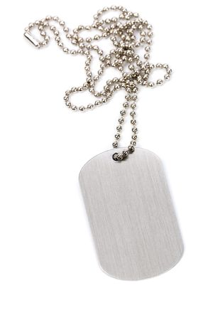 dead dog: Identity tag with chain close up shot