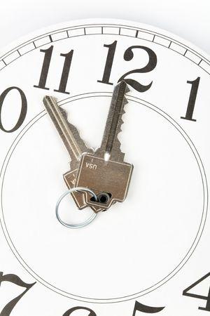 home key: Portada de la llave y del reloj, Concepto de Marketing Inmobiliario