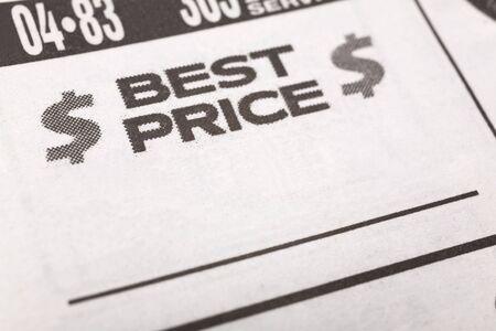 최고의 가격, 신문 판매 광고, 비즈니스 개념 스톡 콘텐츠