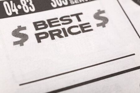 best ad: Best Price, newspaper Sales ad,  Business concept Stock Photo