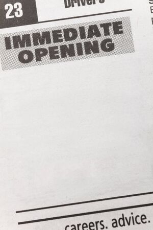newspaper employment ad, Immediate opening, Employment concept Imagens - 2862054