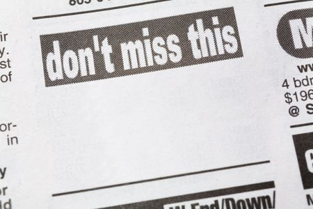 이, 신문 판매 광고, 비즈니스 개념을 놓치지 마세요