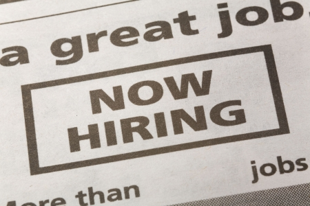 newspaper employment ad, Now Hiring, Employment concept Stock Photo