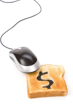 bread slice with dollar sign and computer mouse, concept online business photo