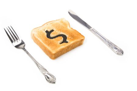 bread slice with dollar sign, concept high price of food or food for business Stock Photo - 3012557
