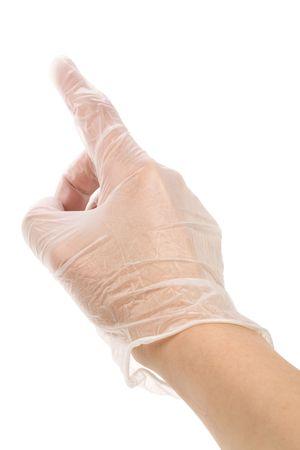 latex: gesture close up shot, latex glove  Stock Photo