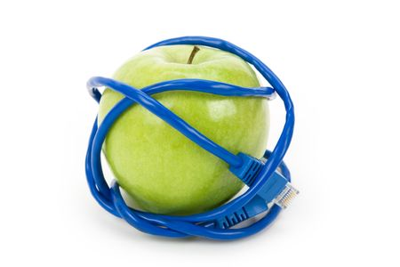 Green apple and Network cable, Danger of internet photo