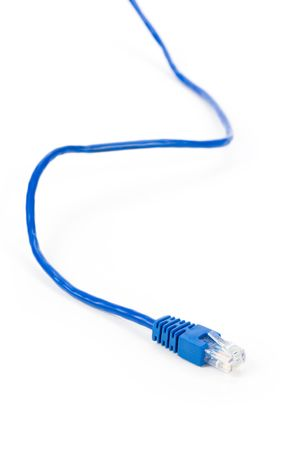 Blue Computer Cable with white background Stok Fotoğraf