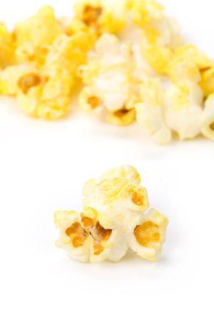 Popcorn with white background close up shot photo