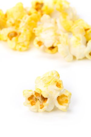 Popcorn with white background close up shot photo