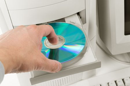 Desktop Computer and CD-ROM Drive close up shot Stock Photo