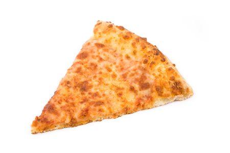 흰색 배경 가진 치즈 피자를 닫습니다.