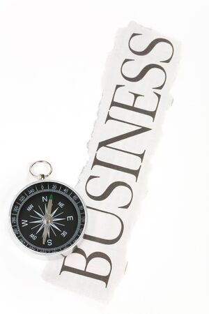 headline business and Compass, concept of decision