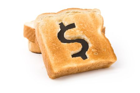 bread slice with dollar sign, concept high price of food or food for business