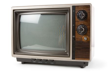 Old-fashioned Television with white background Stock Photo