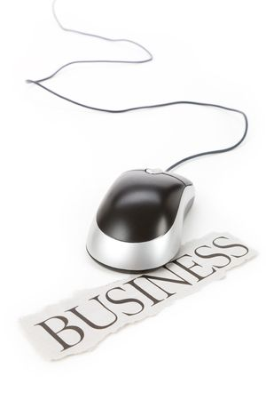 electronic commerce: Computer Mouse with headline business, Electronic Commerce