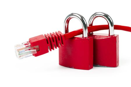 Lock and network cable close up shot Stock Photo - 3142350
