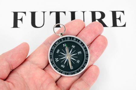 headline future and Compass, concept of future choice photo