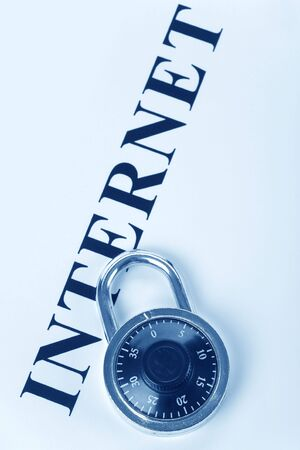 headline internet and lock, concept of internet security