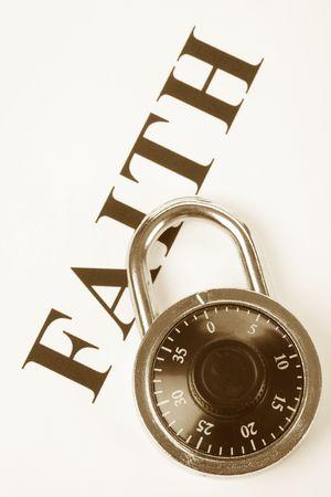 faithfulness: headline faith and lock, concept of religion belief, faithfulness