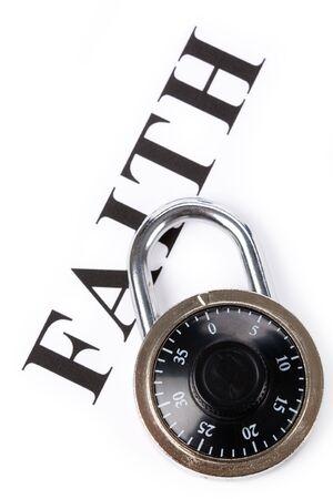headline faith and lock, concept of religion belief, faithfulness Stock fotó - 3178977