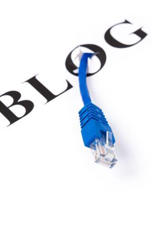 ブログ、ネットワーク ケーブル、インター ネット日記コンセプト 写真素材