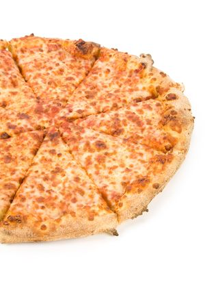 junkfood: Cheese Pizza with white background, close up