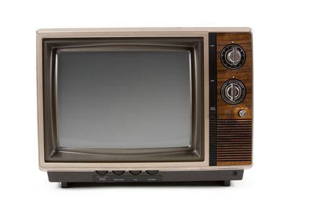 흰색 배경 가진 구식 텔레비전