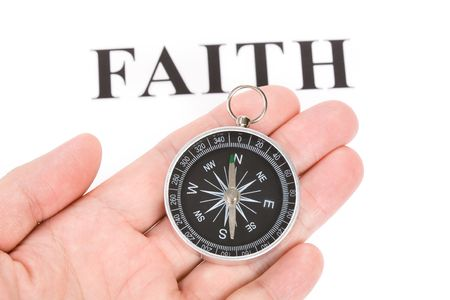 headline faith and Compass, concept of religion belief photo