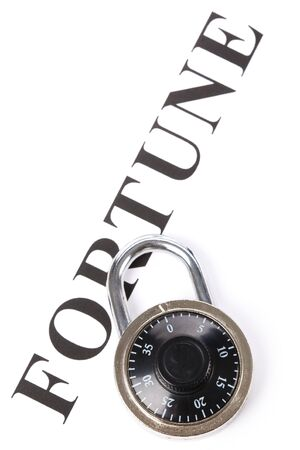 headline fortune and lock, concept of financial protection Stock Photo