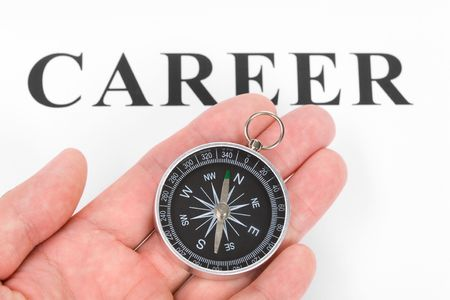headline career and Compass, concept of career choice photo