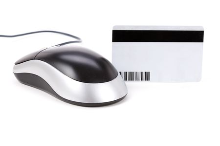 Plastic Digital Data Card and computer mouse close up