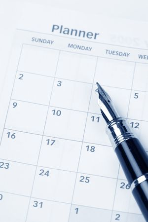 organiser: Calendar agenda, schedule, close up shot for background Stock Photo