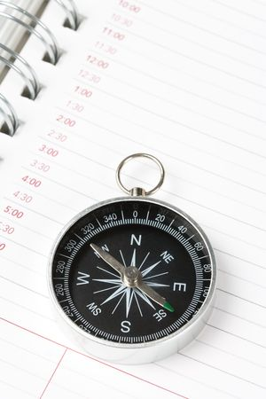 Calendar agenda and compass, concept of time Planning Stock Photo - 3305041