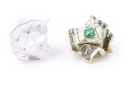 docket: Calendar paper ball and dollar, concept of Wasting Time and money