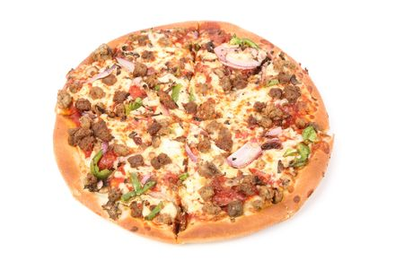 Cheese Pizza with white background, close up photo