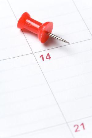 Calendar and Thumbtack close up shot for background photo