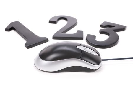number 123 and computer mouse, concept of easy learning