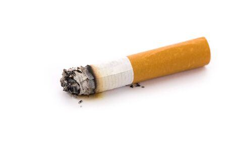 unhealthy living: A Cigarette Butt with white background