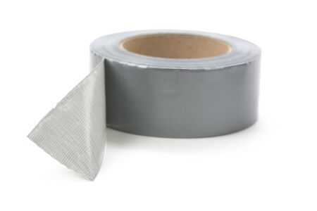 a roll of Grey Duct Tape with white background Archivio Fotografico