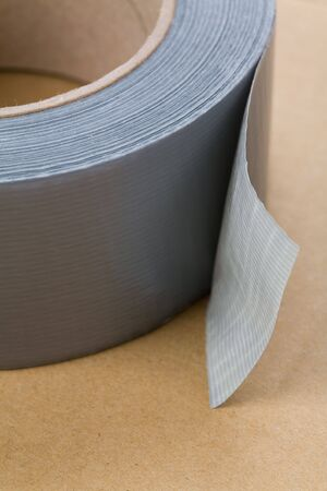 duct tape: a roll of Grey Duct Tape close up shot