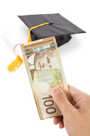 expensive: Black Mortarboard and canadian dollar, concept of education finance