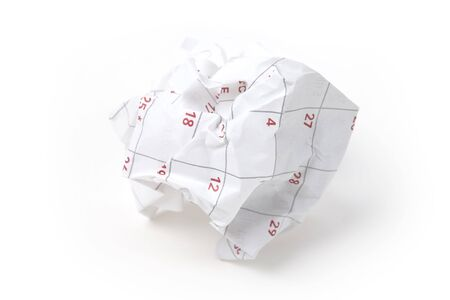 docket: Calendar paper ball, concept of time planning, Wasting Time, Unorganized