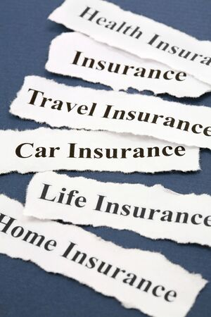 Headline of Insurance Policy, Life; Health, car, travel, home,  for background   Stockfoto