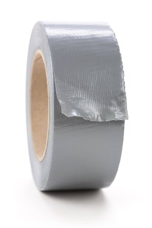 a roll of Grey Duct Tape with white background photo