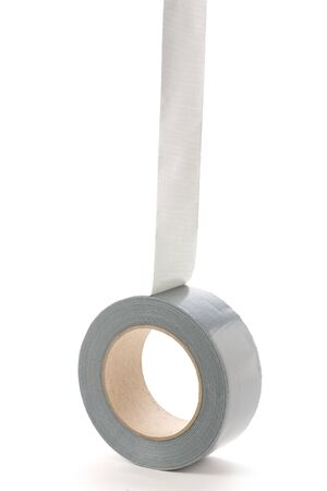 a roll of Grey Duct Tape with white background Stock Photo