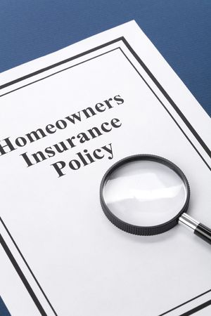 Document of Homeowners Insurance Policy for background Stock Photo
