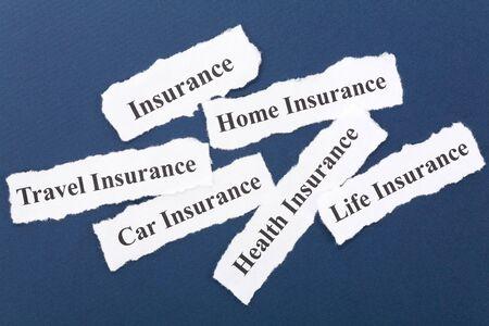 Kop van verzekerings polis, Life, Health, auto, reizen, thuis, achtergrond