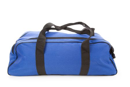 blue backgrounds: blue soft bag with white background Stock Photo